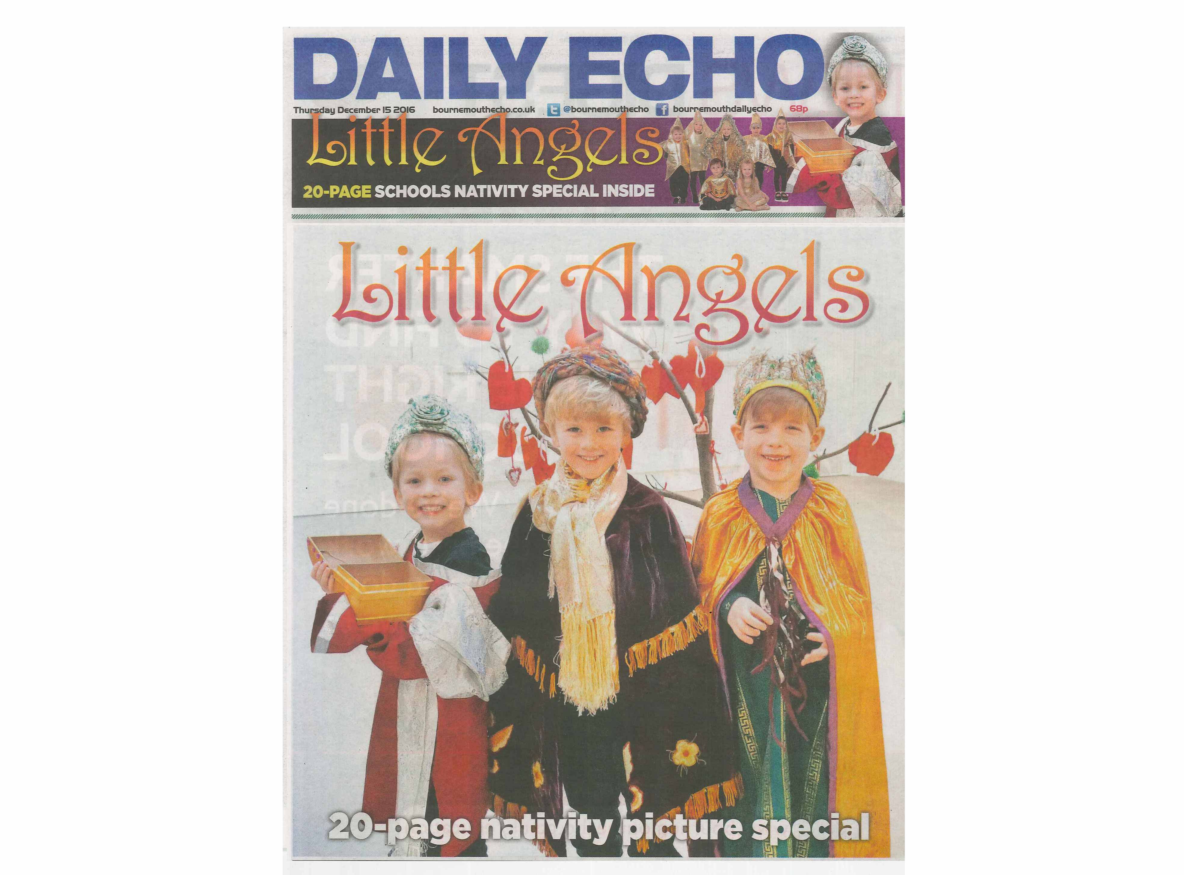 Yarrells School Pupils Are 'Little Angels' On The Front Page Of The Bournemouth Daily Echo