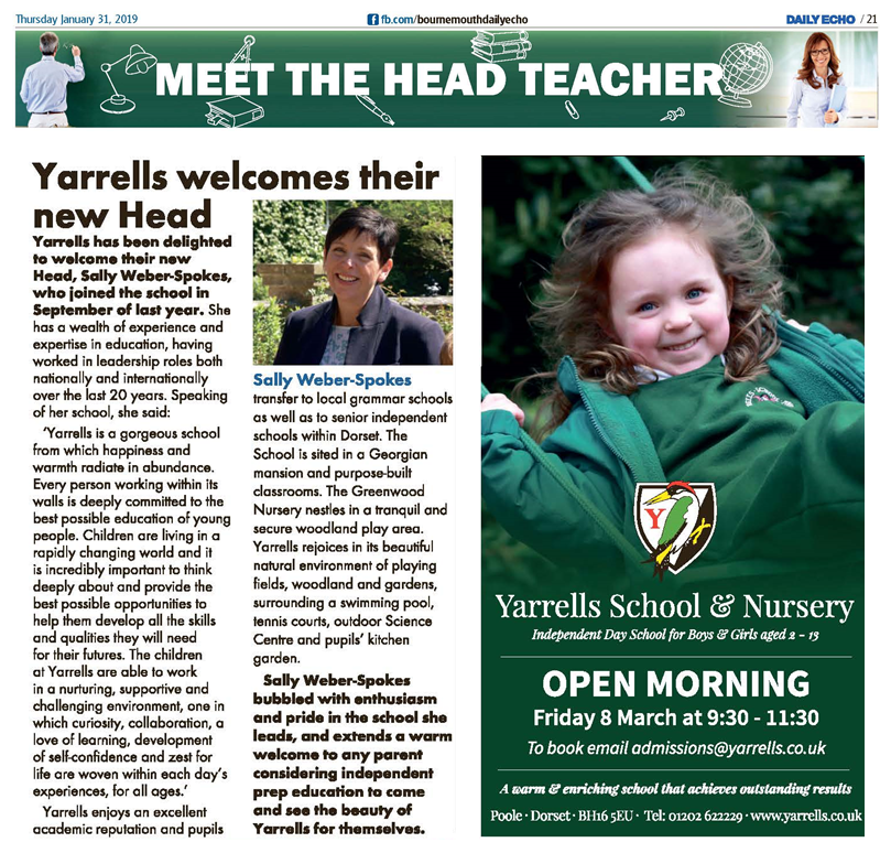 Bournemouth Echo Meet the Head at Yarrells School and Nursery 2019